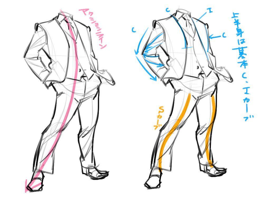 スーツ ドローイング スーツの描き方